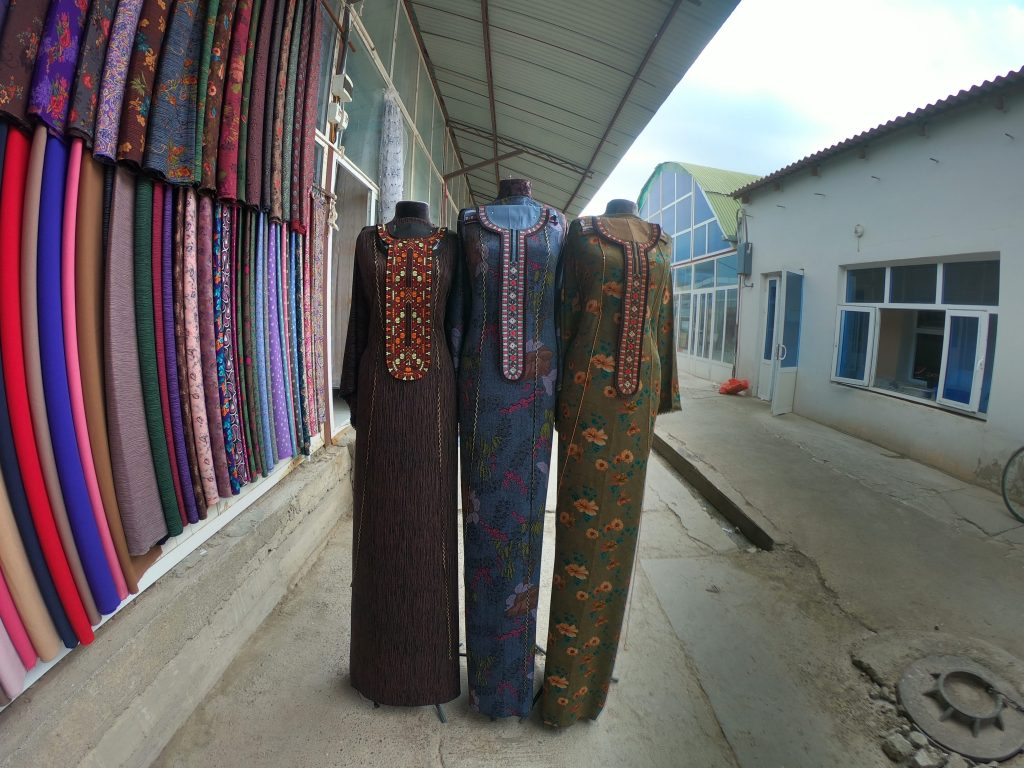 Fabrics for Turkmen traditional dress at the bazar